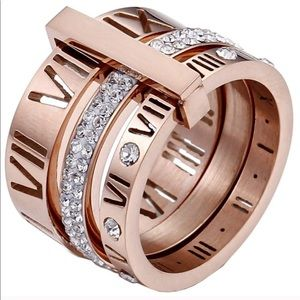 Stainless Steel Roman Numerals 3 in 1 Ring